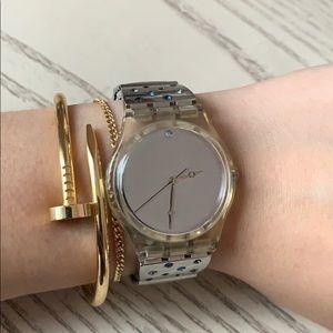 Swatch vintage silver watch with Swarovski crystal